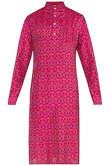 Pink Ikat Pintuck Kurta by Tisha Saksena Men