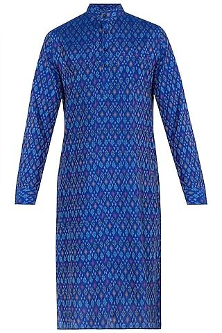 Blue Ikat Kurta by Tisha Saksena Men
