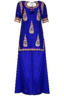 Blue Embroidered Sharara Set by Tisha Saksena