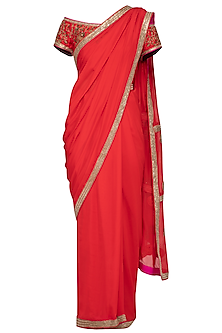 Red Embroidered Saree Set by Tisha Saksena