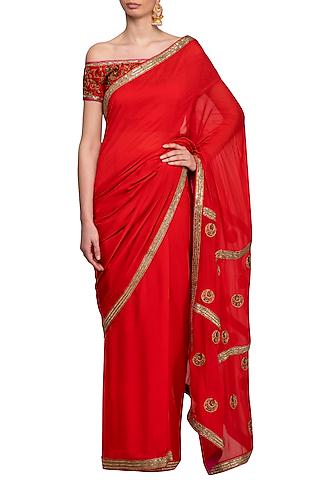 Red Embroidered Saree Set by Tisha Saksena