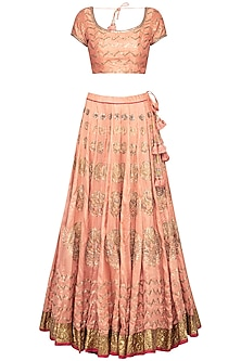 Blush Pink Embroidered Lehenga Set by Tisha Saksena