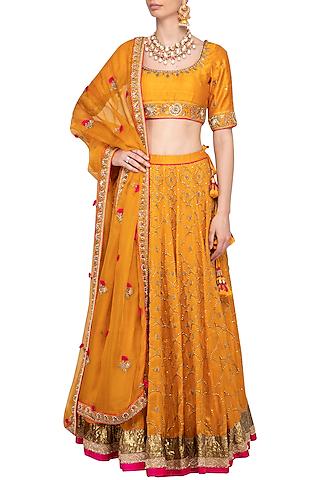 Turmeric Yellow Embroidered Lehenga Set by Tisha Saksena