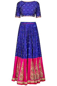 Royal Blue Embroidered Ikat Lehenga Set by Tisha Saksena