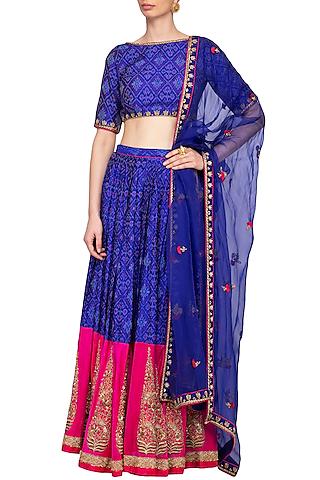 Royal Blue Embroidered Ikat Lehenga Set by Tisha Saksena