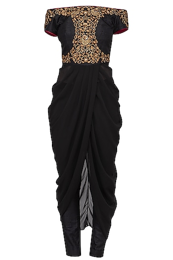 Black Embroidered Off Shoulder Drape Top With Pants by Tisha Saksena