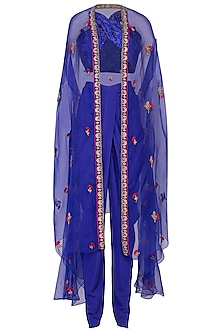 Royal Blue Embroidered Ikat Crop Top With Dhoti Pants & Cape by Tisha Saksena