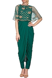 Teal Embroidered Drape Kurta With Pants & Cape by Tisha Saksena