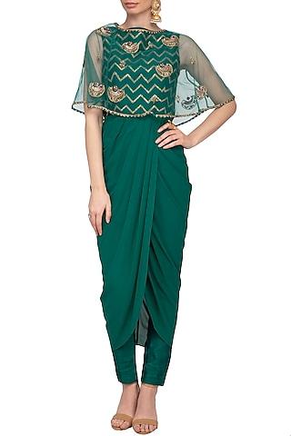 Teal Embroidered Drape Kurta With Pants & Cape by Tisha Saksena