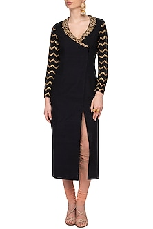 Black Embroidered Blazer Kurta With Nude Churidar Pants by Tisha Saksena