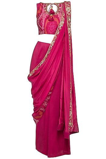 Cranberry Embroidered Pant Saree Set by Tisha Saksena