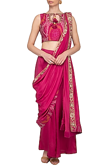 Cranberry Embroidered Pant Saree Set by Tisha Saksena
