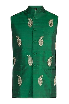 Green Embroidered Nehru Jacket by Tisha Saksena Men