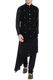 Black Embroidered Bundi Jacket by TISA