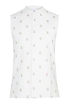 White Embroidered Bundi Jacket by TISA