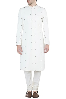Off White Embroidered Sherwani Kurta by TISA