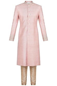 Dusky Pink Embroidered Sherwani Kurta by TISA