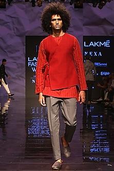 Red Kurta Set With Bandi Jacket by TISA