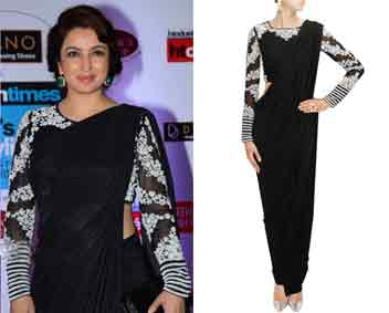Black Sari with Embroidered Blouse and Pants by Bhaavya Bhatnagar