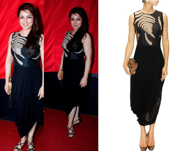 Black fern embroidered draped dress by Nachiket Barve
