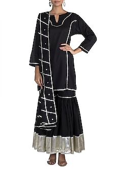 Black Gota Bordered Sharara Set by Tokree