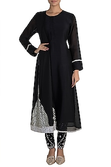 Black Embellished Kurta With Pants by Tokree