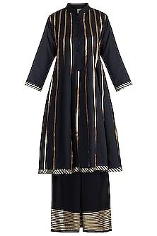 Black Embellished Kalidar Kurta With Pants by Tokree