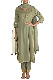 Jade Green Gota Kurta Set by Tokree