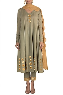 Jade Green Kalidar Kurta Set by Tokree