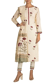 White Printed Kurta Set by Tokree
