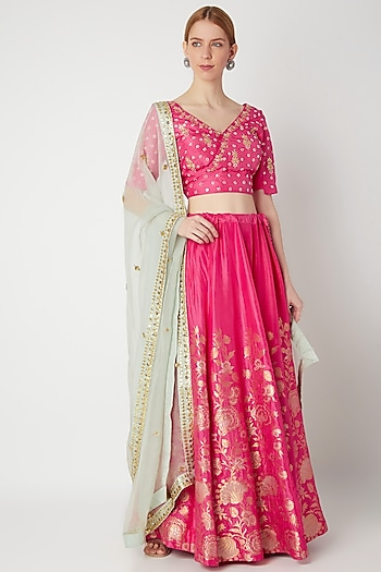 Fuchsia Embroidered Floral Lehenga Set by The Jaipur Story