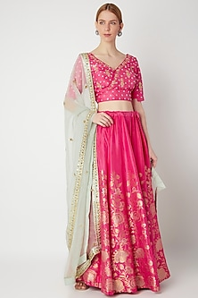 Fuchsia Embroidered Floral Lehenga Set by The Jaipur Story-POPULAR PRODUCTS AT STORE
