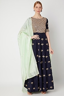 Navy Blue Embroidered Anarkali Gown With Dupatta by The Jaipur Story