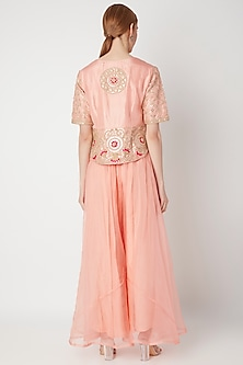 Blush Pink Embroidered Kurta With Pants by The Jaipur Story