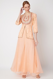 Peach Embroidered Kurta With Pants by The Jaipur Story