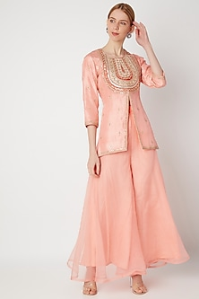 Blush Pink Zardosi Embroidered Kurta With Pants by The Jaipur Story