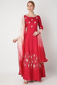Red Embroidered Anarkali Gown With Dupatta by The Jaipur Story-SHOP BY STYLE