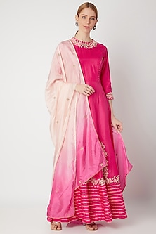 Fuchsia Embroidered Anarkali Gown With Dupatta by The Jaipur Story