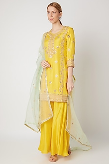 Yellow Embroidered Kurta Set by The Jaipur Story