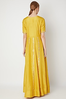 Mustard Yellow Embroidered Anarkali Gown With Dupatta by The Jaipur Story