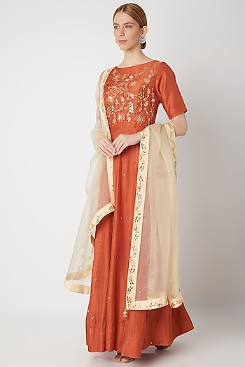 Orange Embroidered Anarkali Gown With Dupatta by The Jaipur Story
