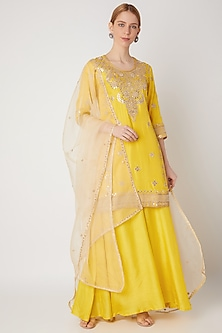 Yellow Hand Embroidered Kurta Set by The Jaipur Story