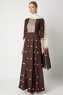 Brown Embroidered Anarkali With Shaded Dupatta by The Jaipur Story