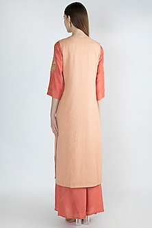 Dull Pink Embroidered Kurta Set With Jacket by The Jaipur Story