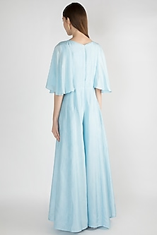 Slate Blue Embroidered Jumpsuit by The Jaipur Story