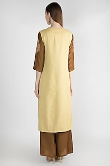 Hazel Brown Embroidered Kurta Set With Jacket by The Jaipur Story