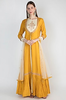 Off White Gown With Mustard Yellow Embroidered Jacket & Dupatta by The Jaipur Story