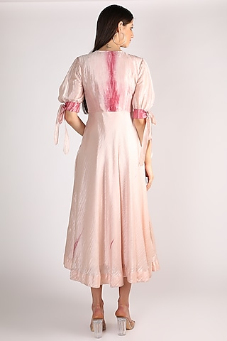 Pink Hand Embroidered Dress by The Loom art