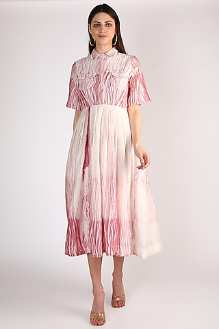 Pink & White Hand Embroidered Dress by The Loom art