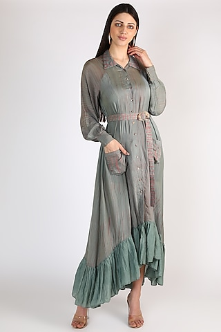 Green Shirt Dress With Embroidered Belt by The Loom art